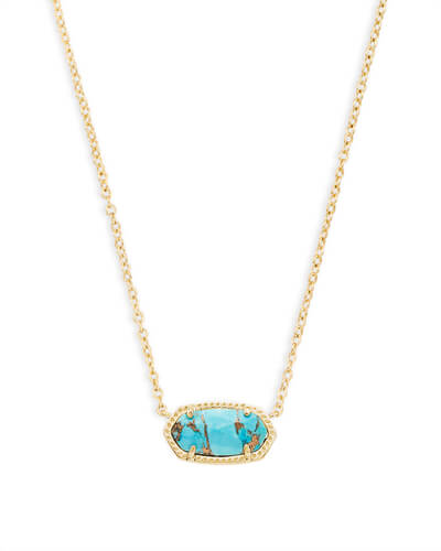 Elisa Pendant Necklace in Bronze Veined Turquoise