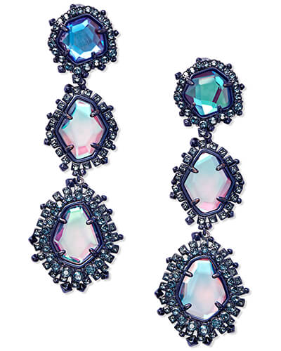 Aria Clip On Navy Gunmetal Statement Earrings in Indigo Dichroic Glass