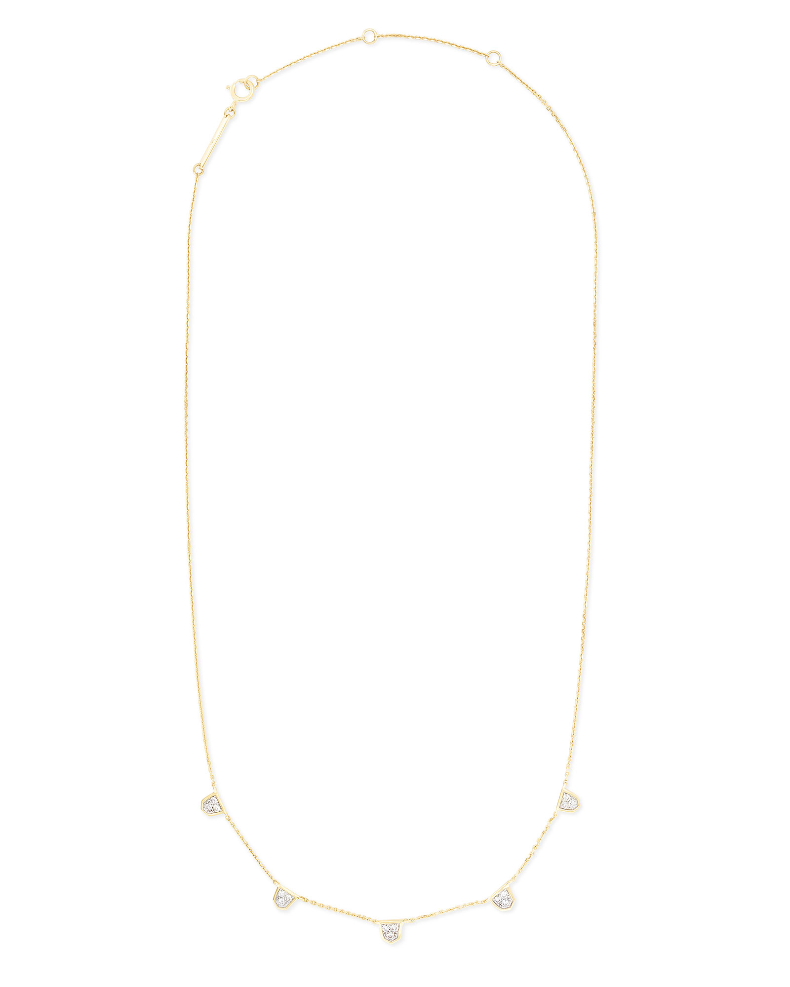 Shannon 14k Yellow Gold Collar Necklace in White Diamond