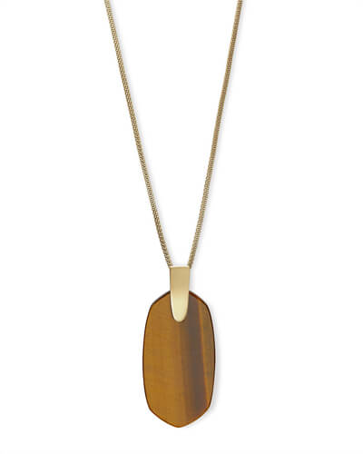 Inez Gold Long Pendant Necklace In Brown Tigers Eye
