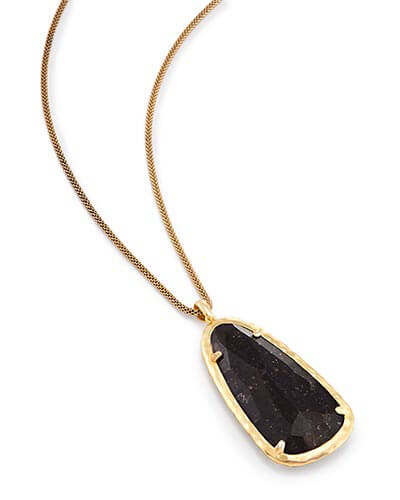Saylor Long Pendant Necklace in Black Granite