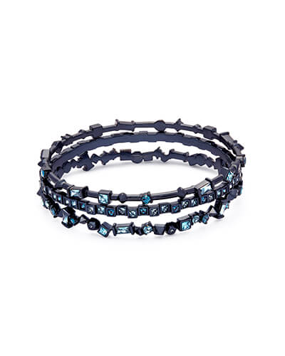 Malia Navy Gunmetal Bangle Bracelet Set in Indigo Mix