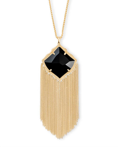Kingston Gold Long Pendant Necklace in Black Opaque Glass