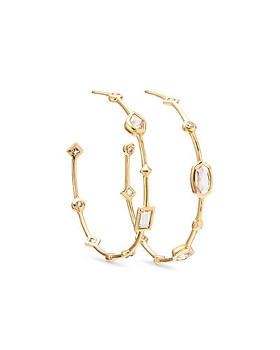 Mei 14k Yellow Gold Hoop Earrings in Neutral Gemstone Mix