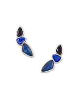 Ivy Vintage Silver Ear Climber Earrings in Navy Mix