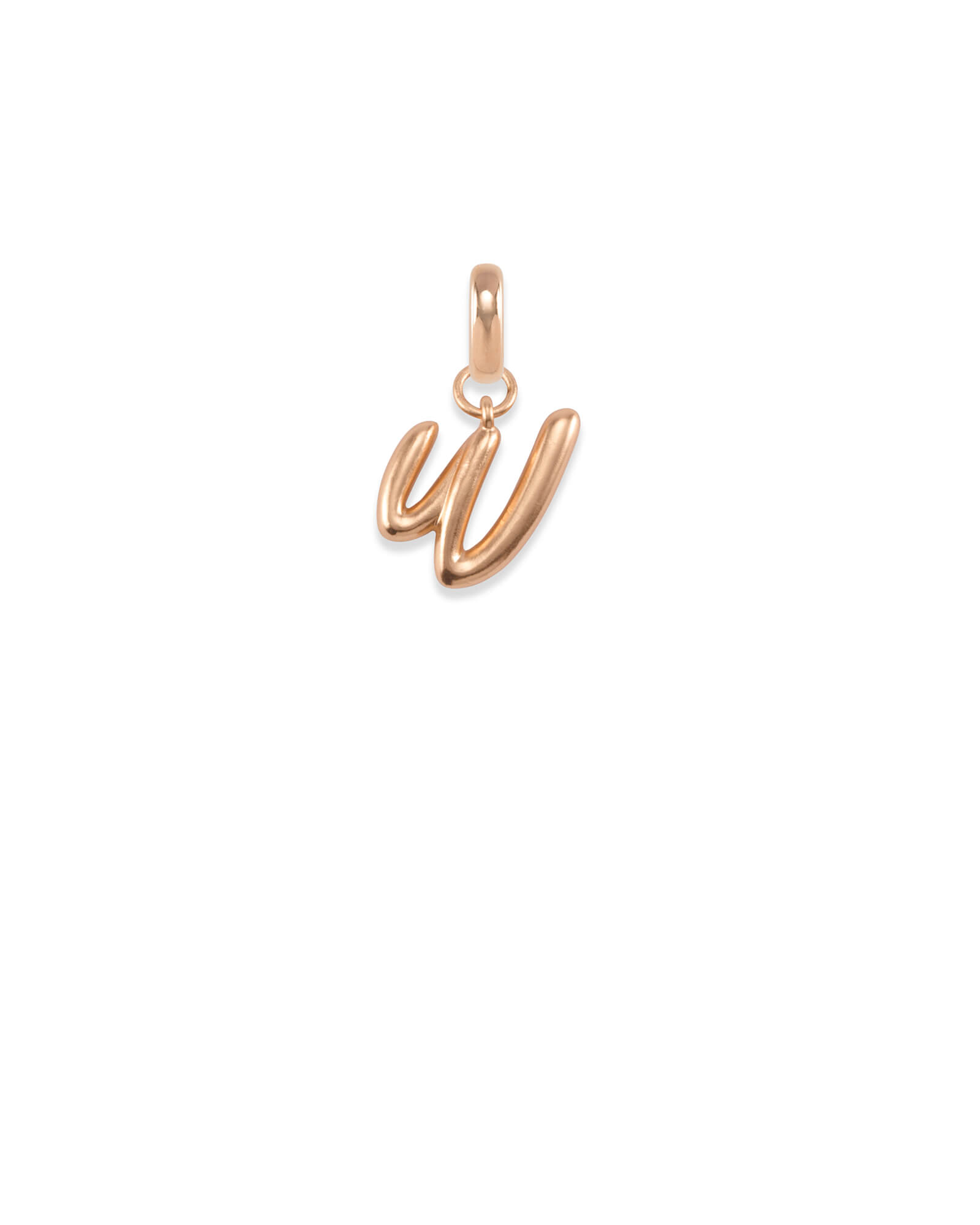 Letter W Charm in Rose Gold