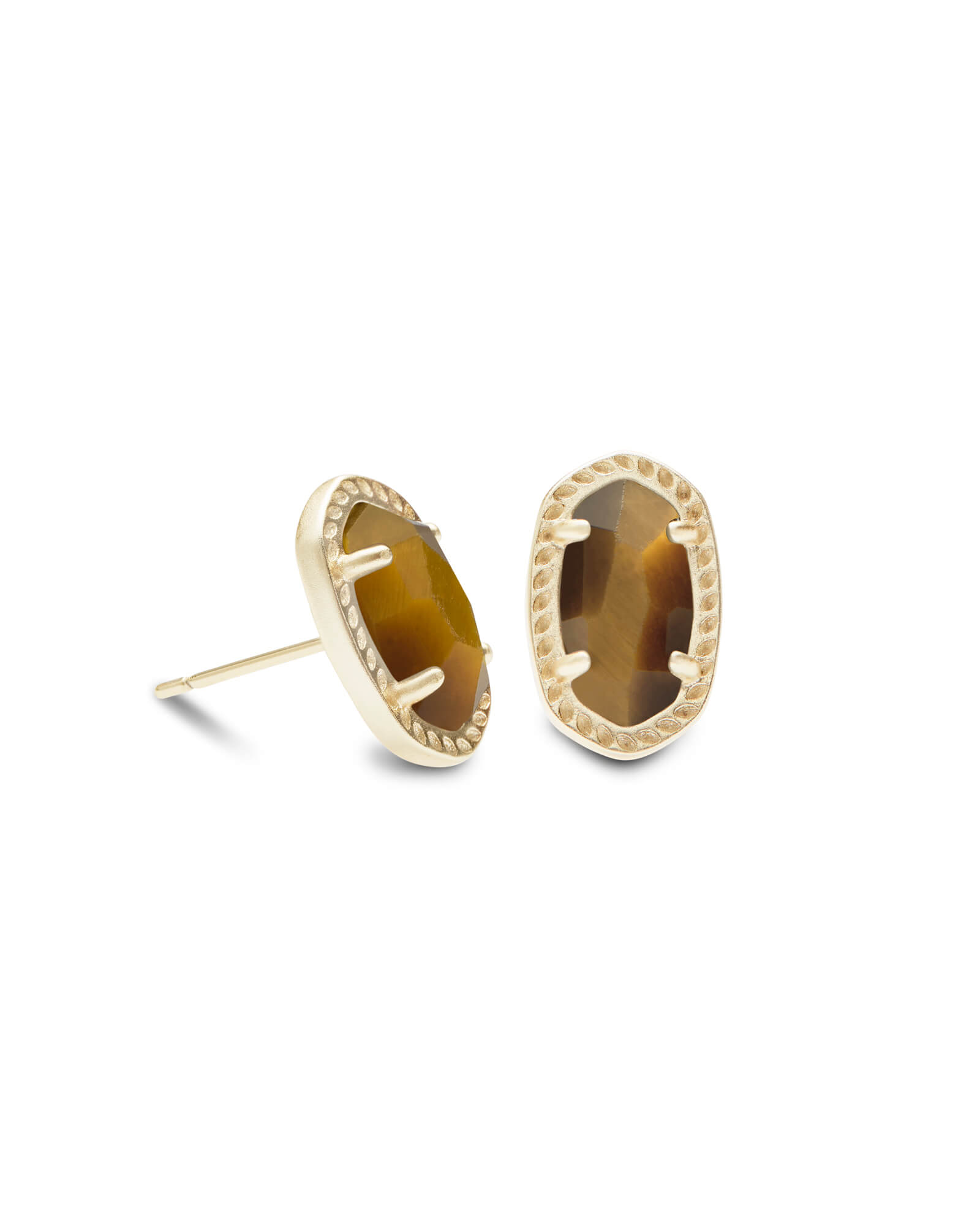 Emery Gold Stud Earrings in Brown Tigers Eye