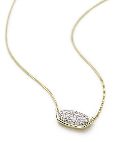 Elisa Pendant Necklace in Pave Diamond and 14k Yellow Gold