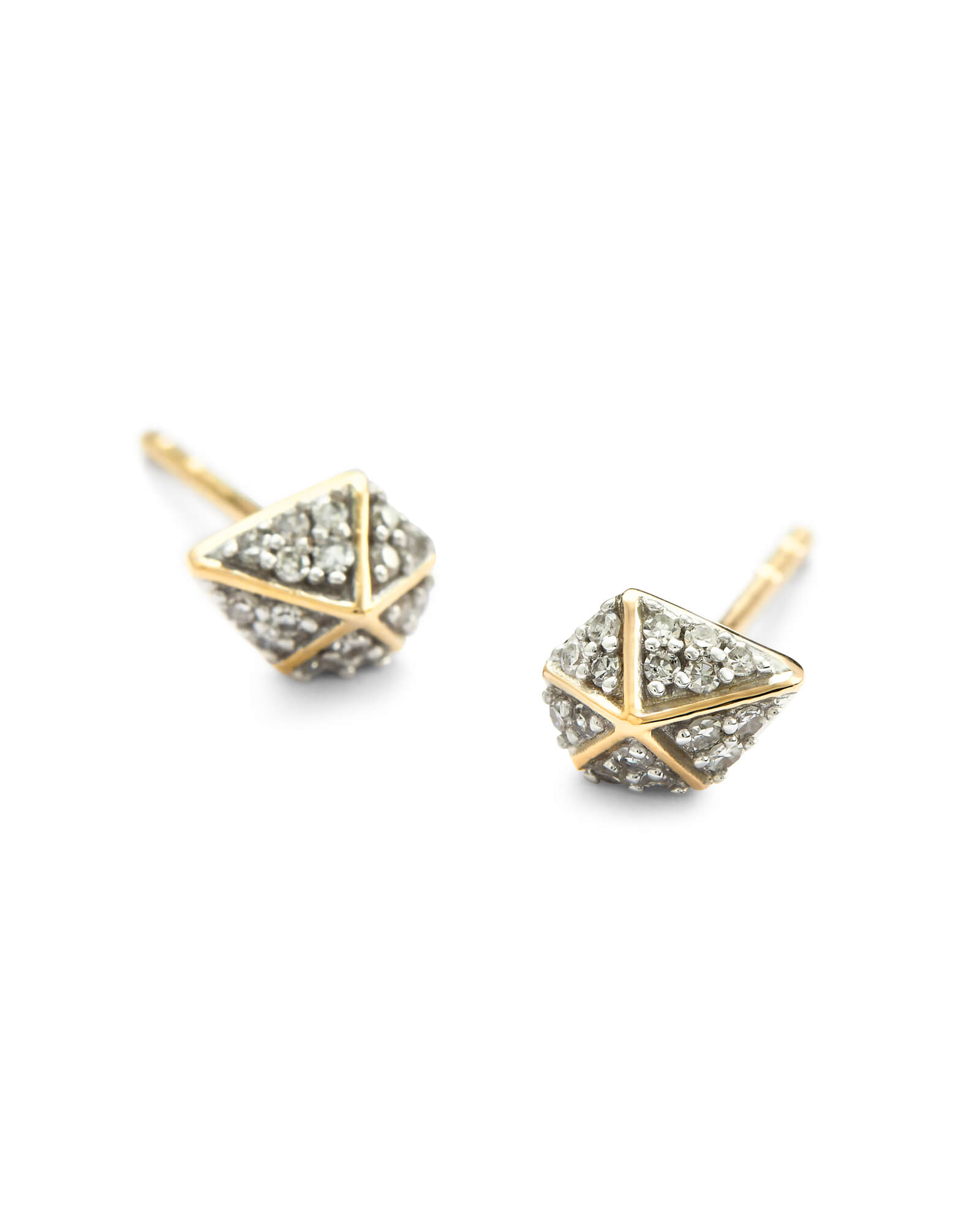 Manet 14k Yellow Gold Stud Earrings in White Diamond