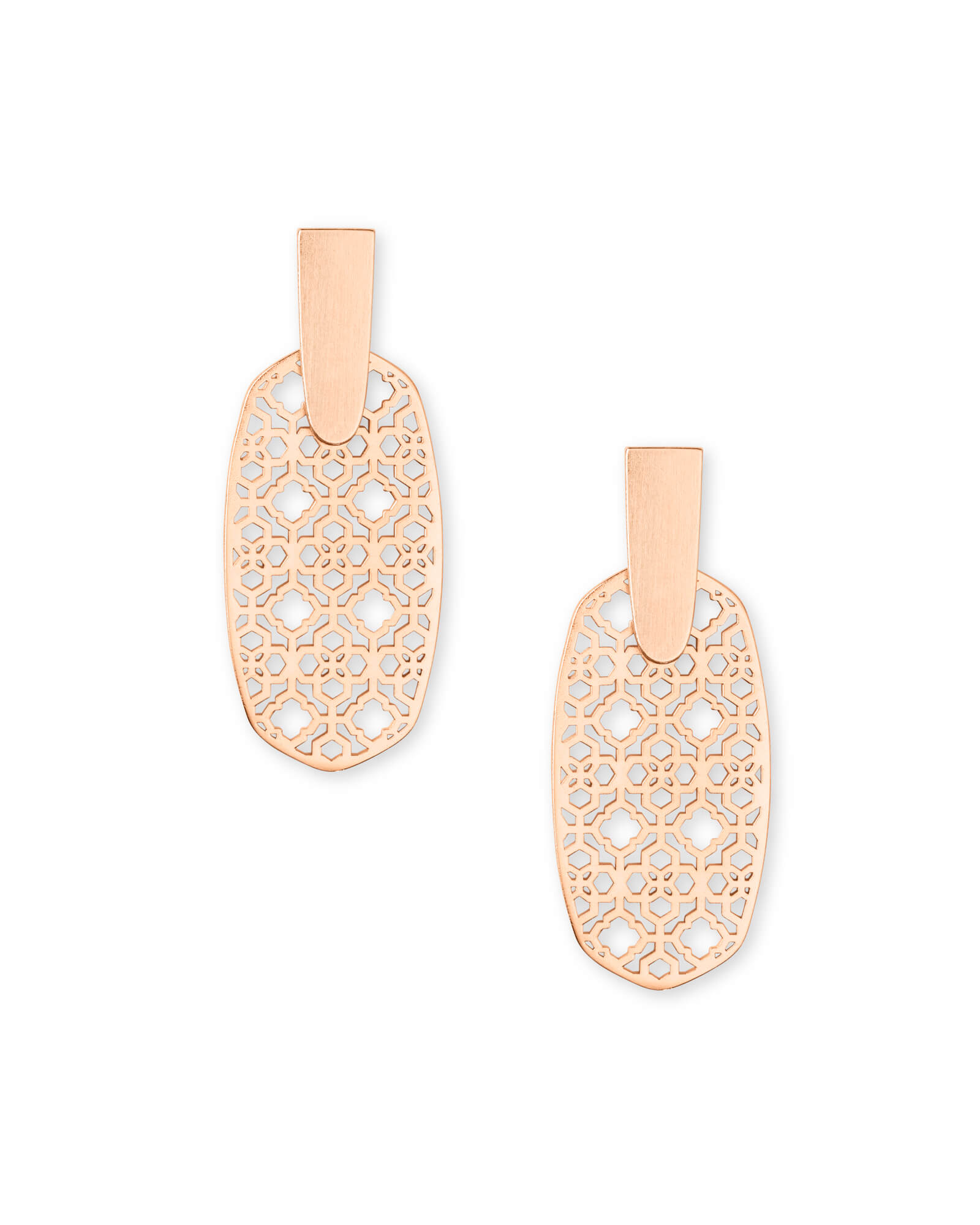 Aragon Rose Gold Drop Earrings in Rose Gold Filigree