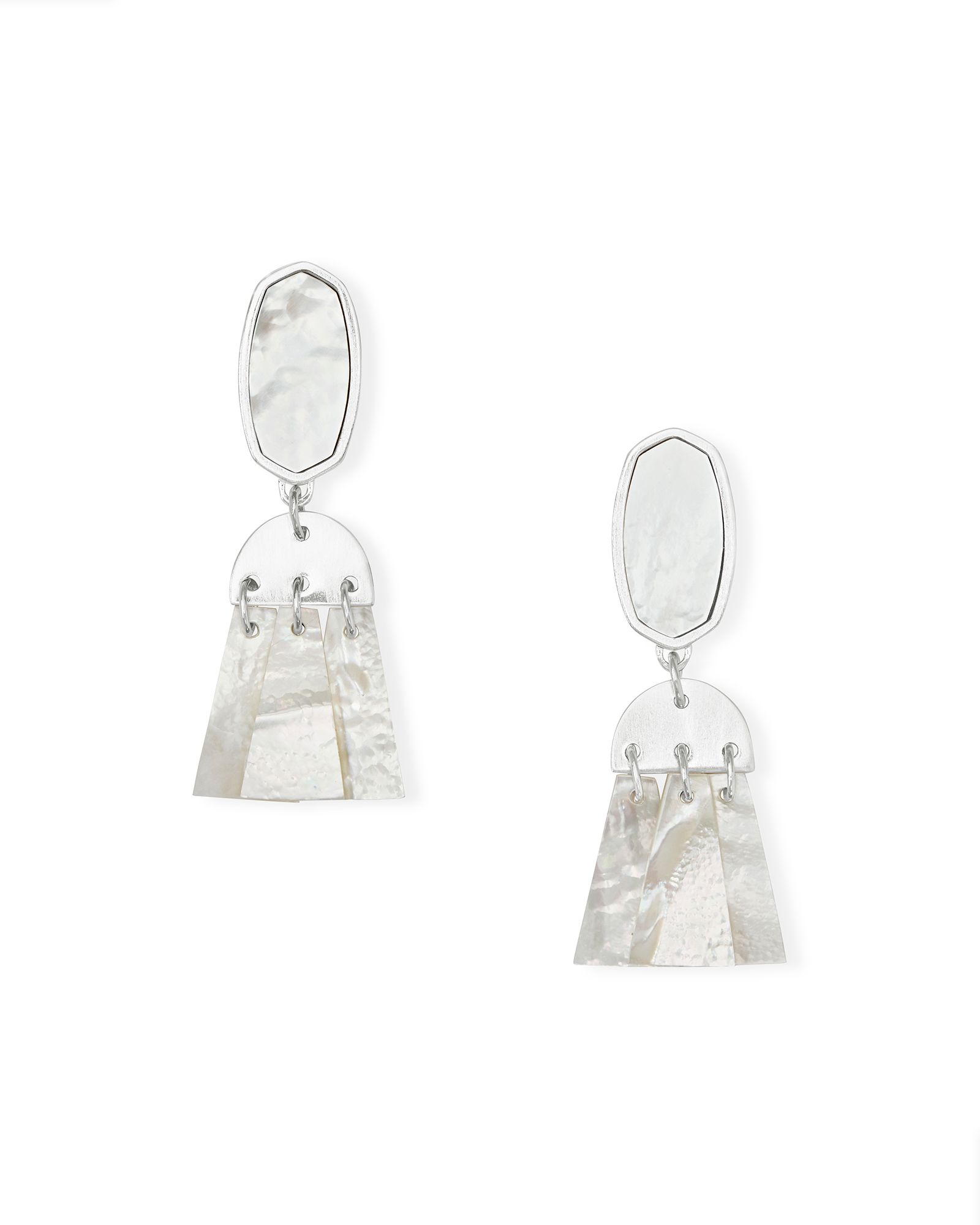 Noah Silver Statement Earrings in Ivory Mother-of-Pearl