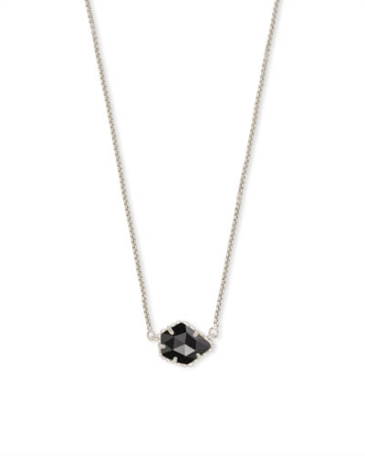 Tess Silver Small Pendant Necklace In Black