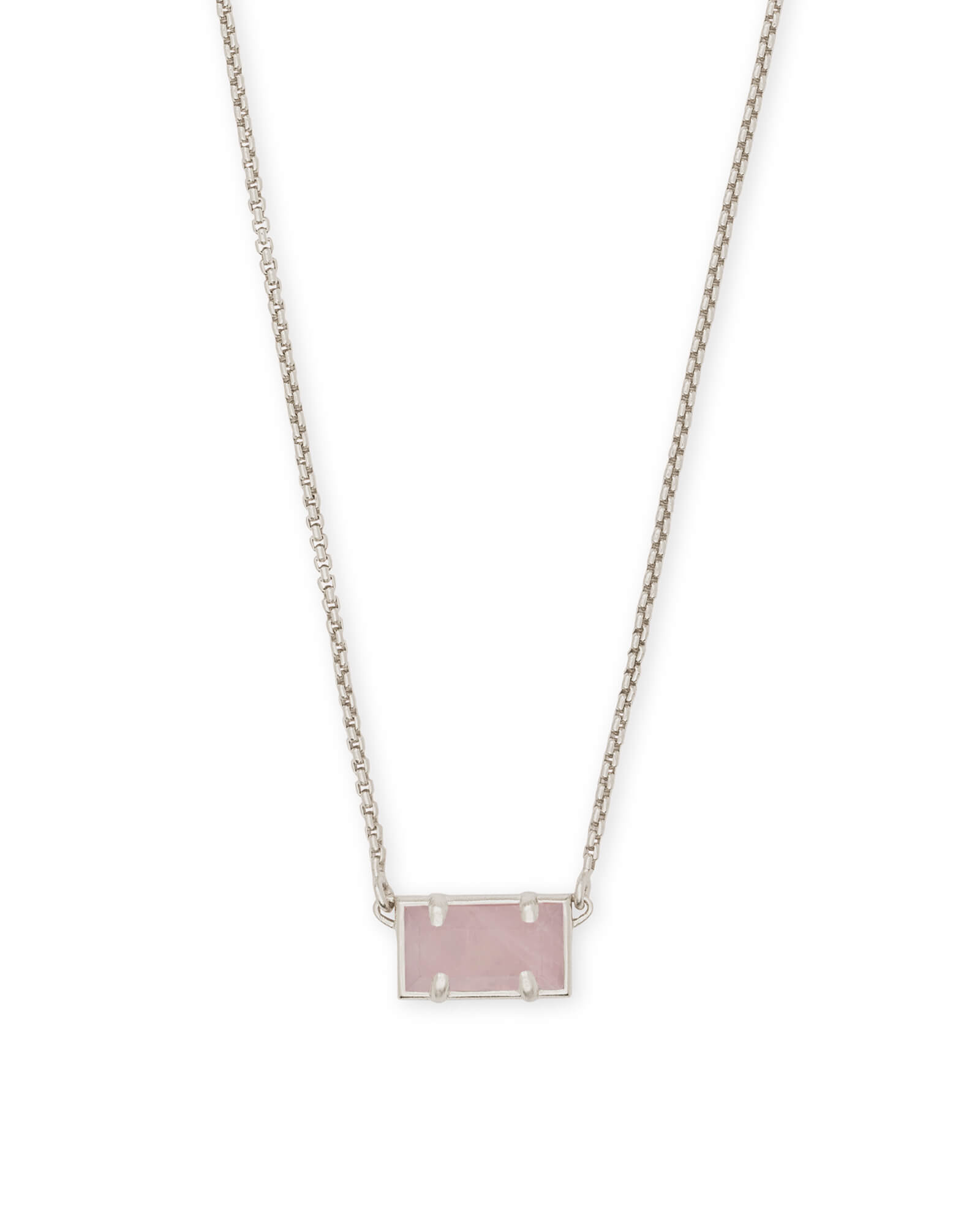 Pattie Silver Pendant Necklace In Rose Quartz