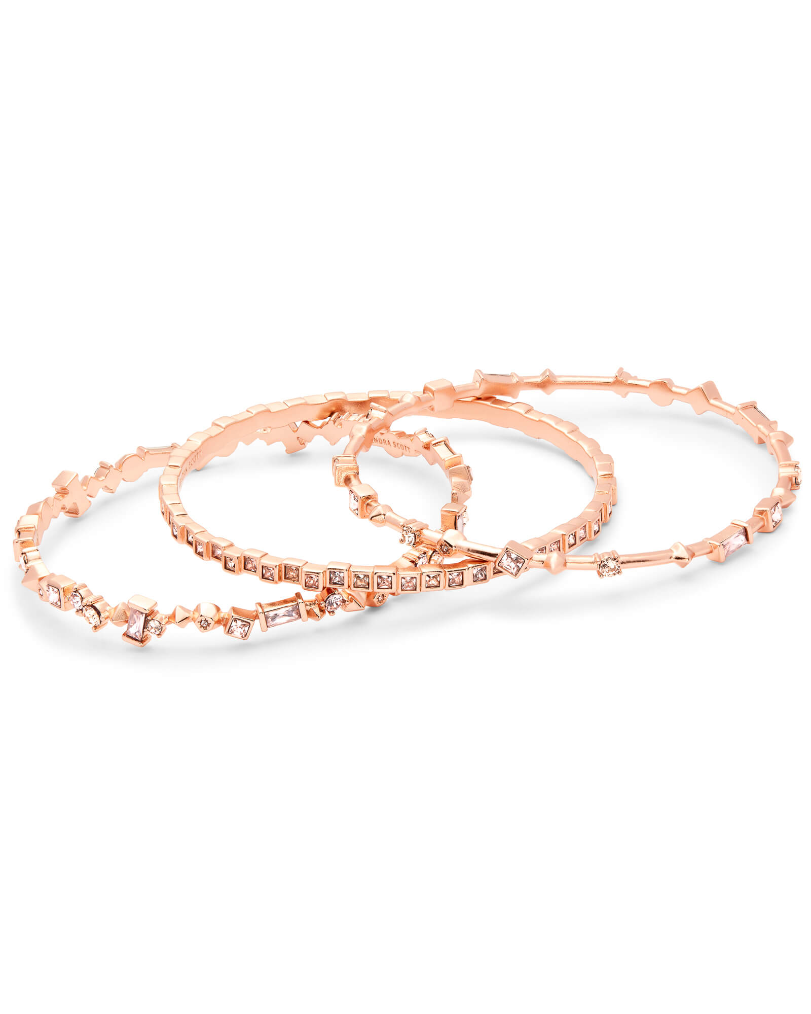 Malia Rose Gold Bangle Bracelet Set in Blush Mix