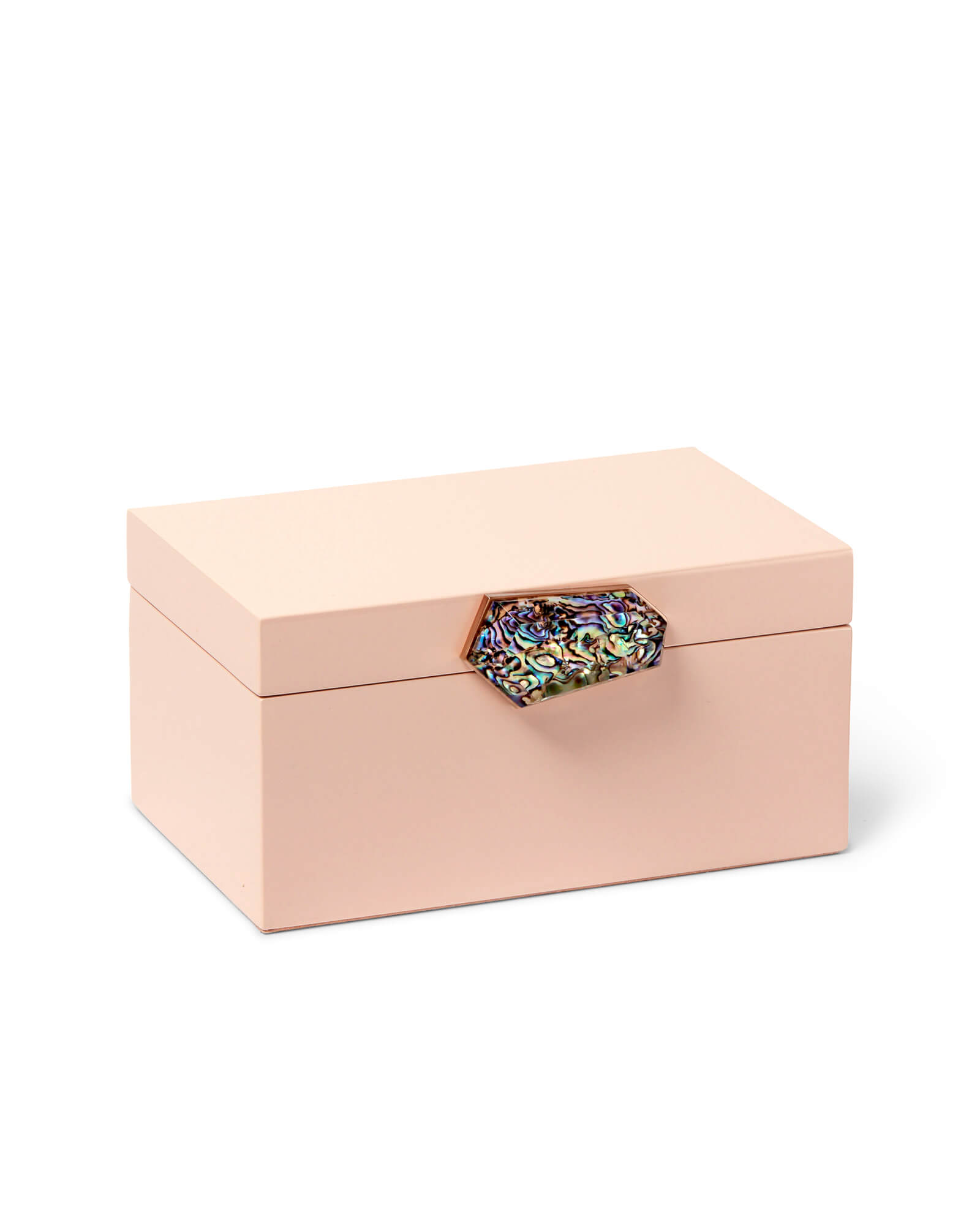 Small Jewelry Box in Blush Lacquer with Abalone Shell