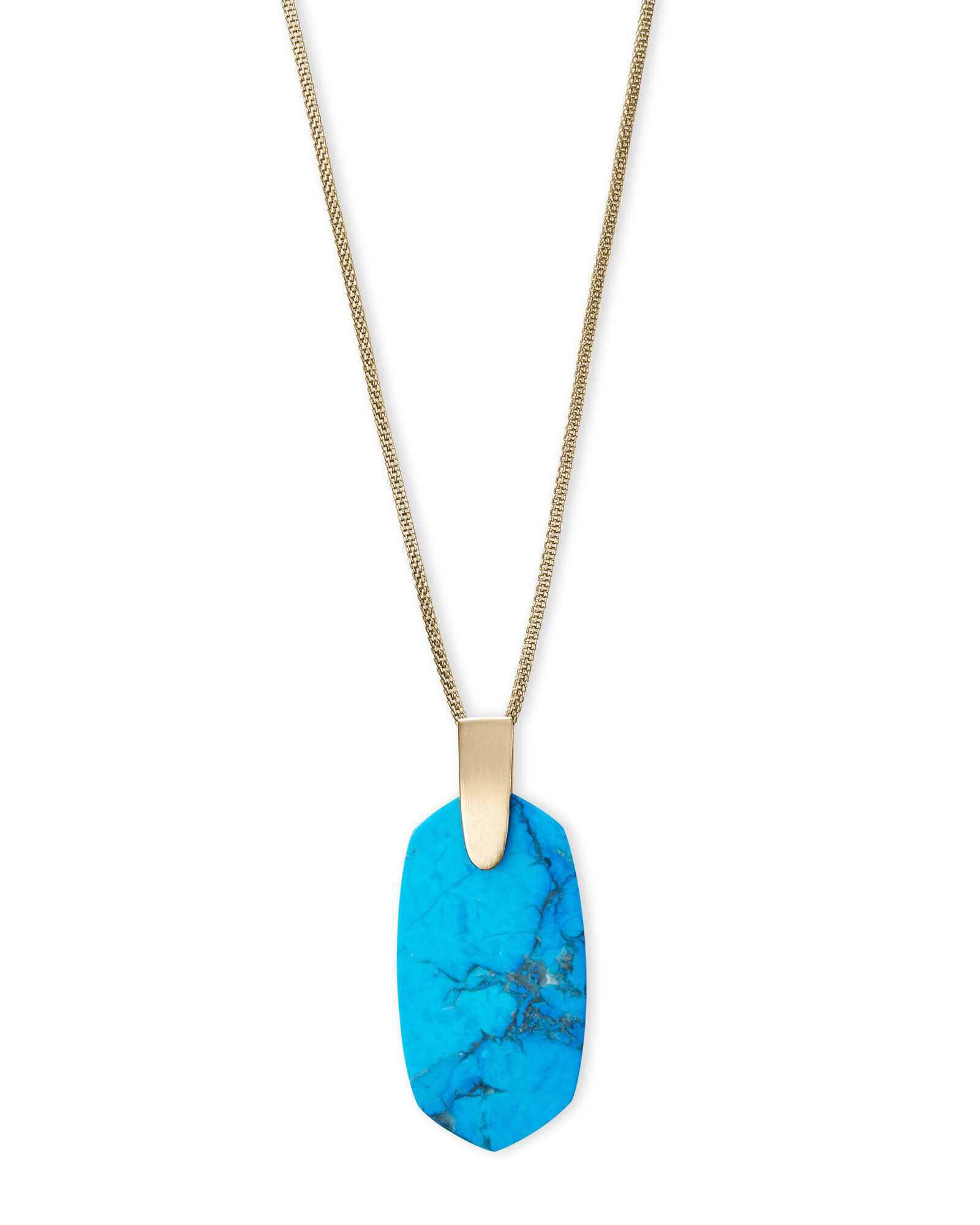 Inez Gold Long Pendant Necklace In Aqua Howlite by Kendra Scott