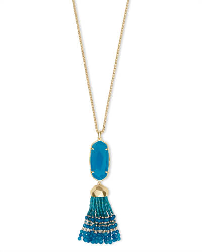 Eva Gold Long Pendant Necklace in Teal Agate