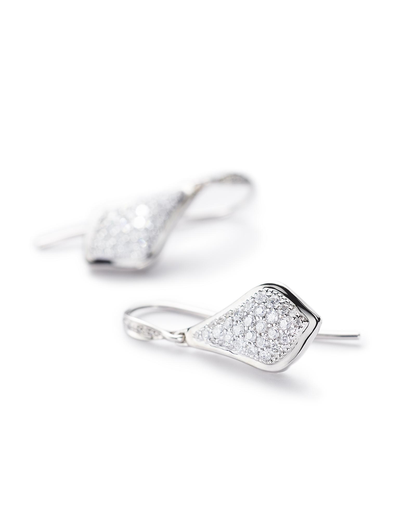 Lexi Drop Earrings in Pave Diamond and 14k White Gold