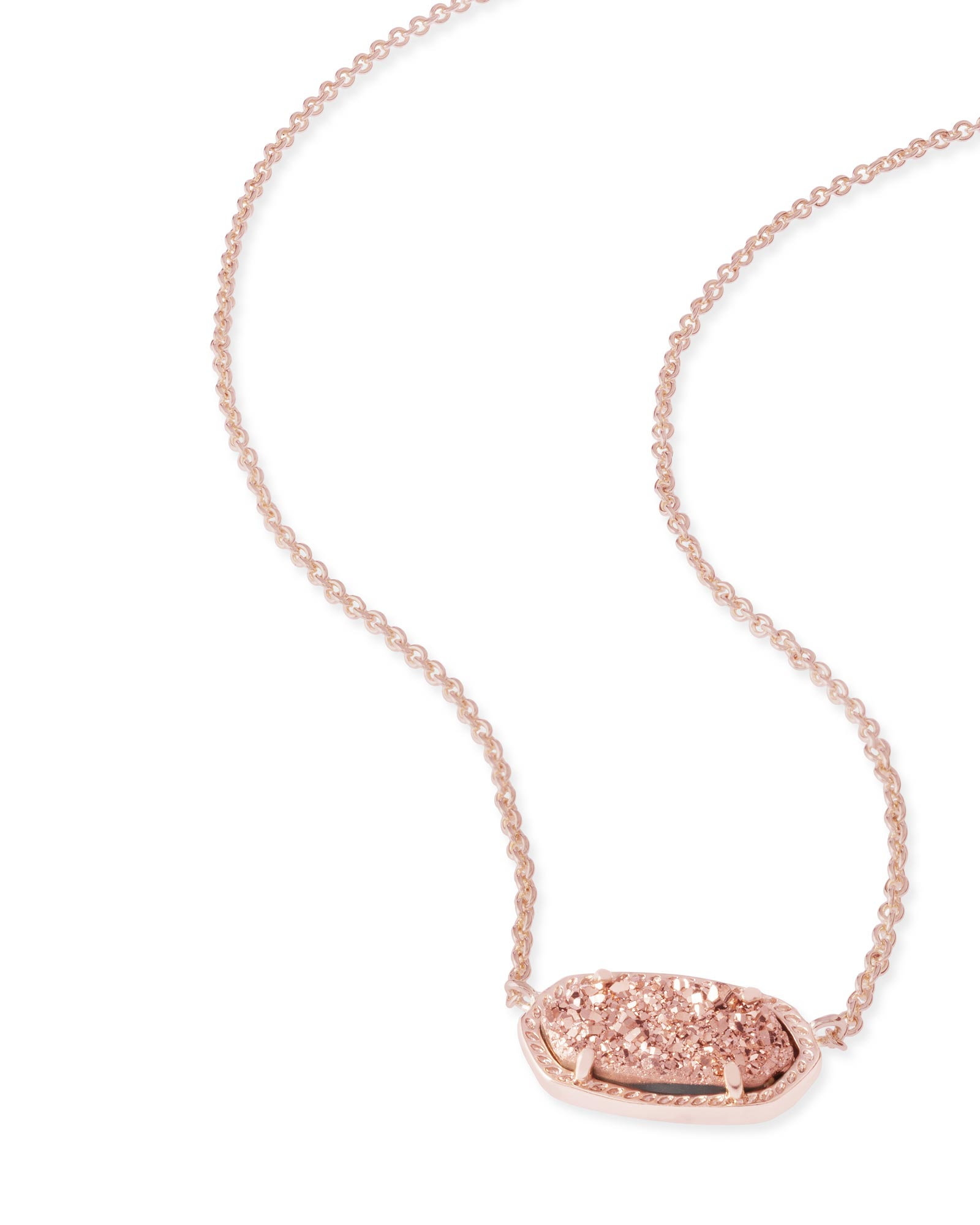 Elisa Rose Gold Pendant Necklace In Rose Drusy Kendra Scott