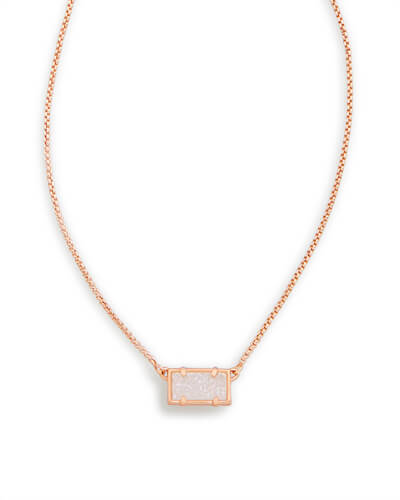 Pattie Rose Gold Pendant Necklace in Iridescent Drusy