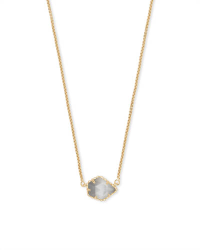 Tess Gold Pendant Necklace in Slate Cats Eye