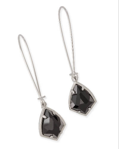 Carinne Silver Drop Earrings in Black