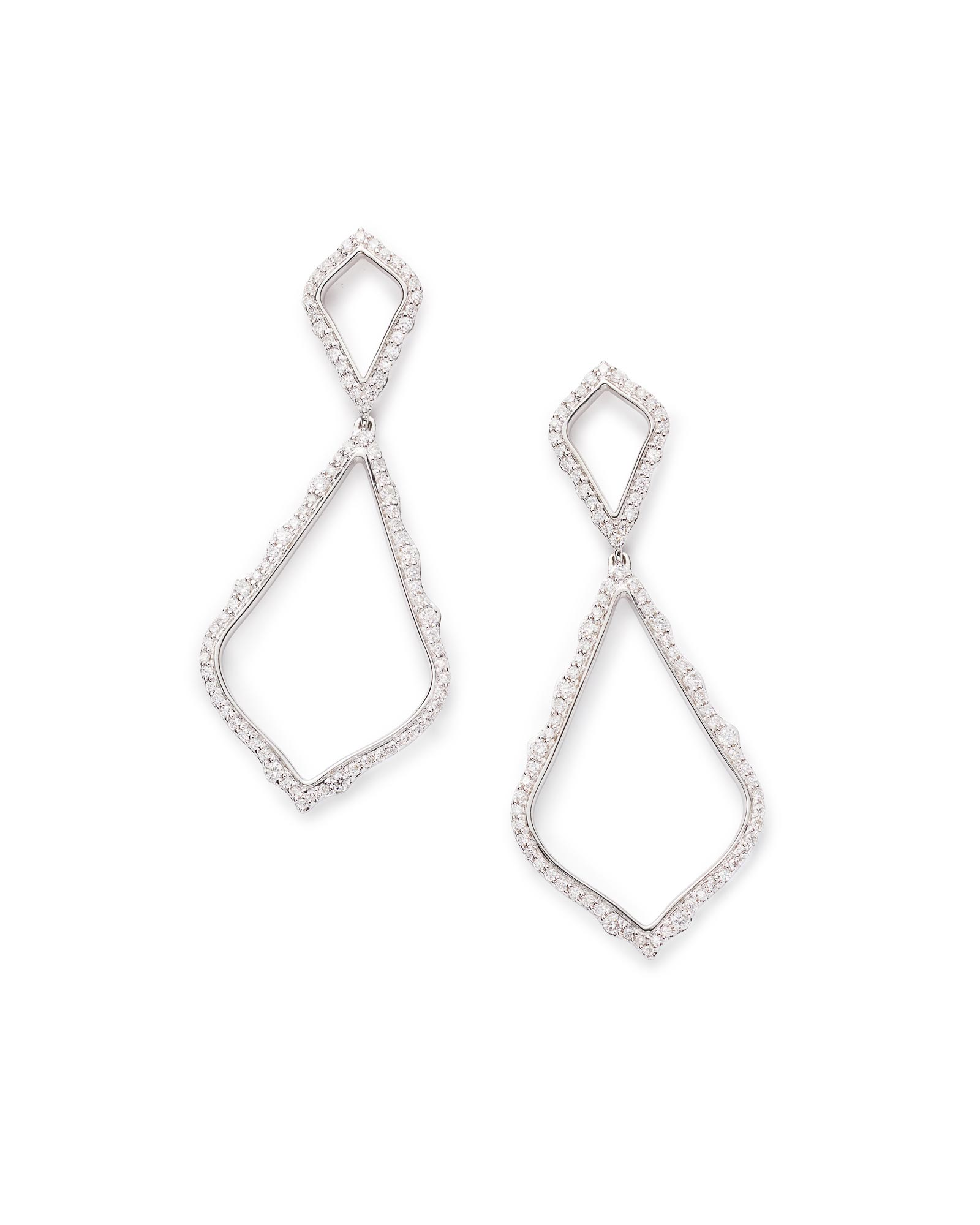 Alexa Statement Earrings in Pave Diamond and 14k White Gold