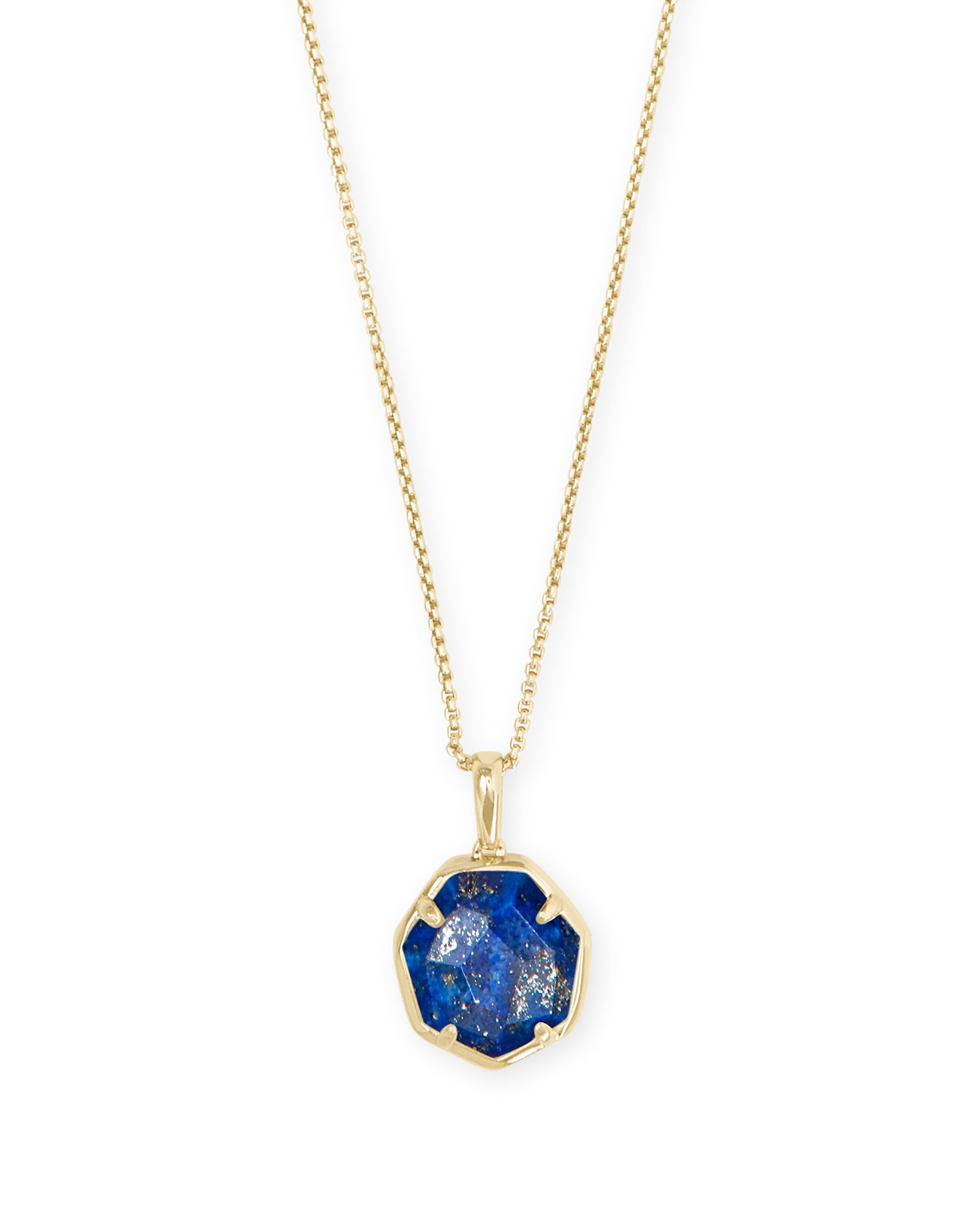 Cynthia Gold Pendant Necklace in Blue Lapis