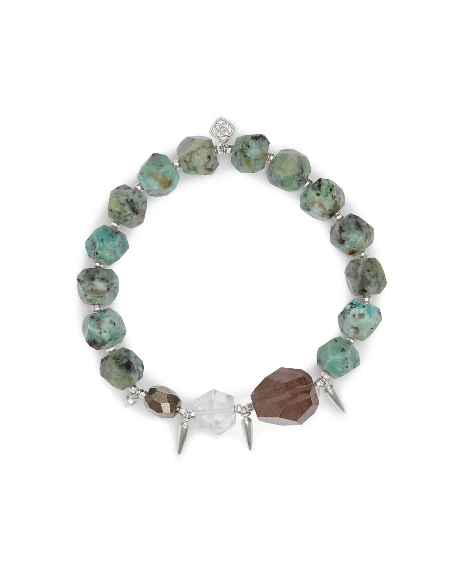 Sadie Silver Stretch Bracelet in Turquoise Mix