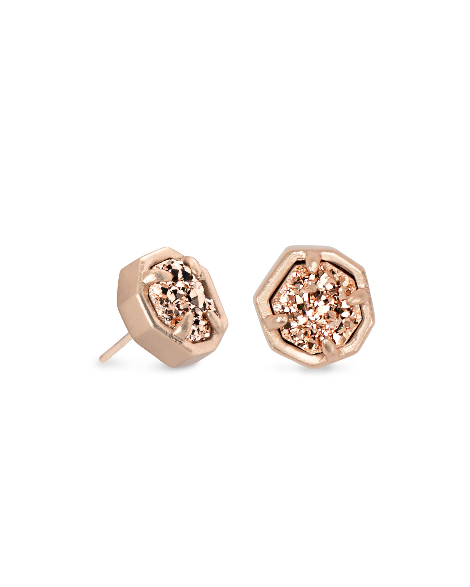 Nola Rose Gold Stud Earrings in Rose Gold Drusy