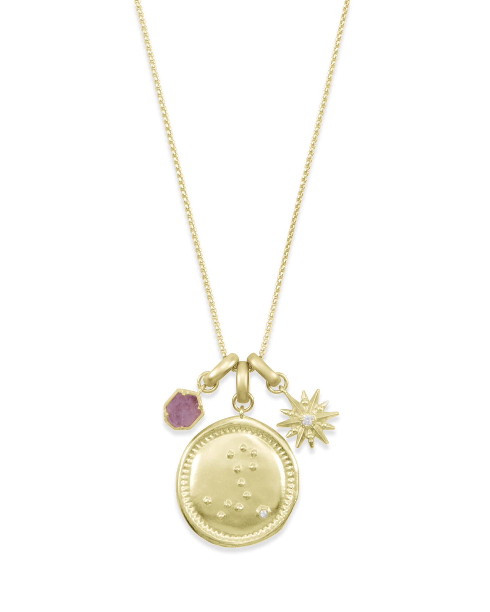 February Pisces Charm Necklace Set in Gold