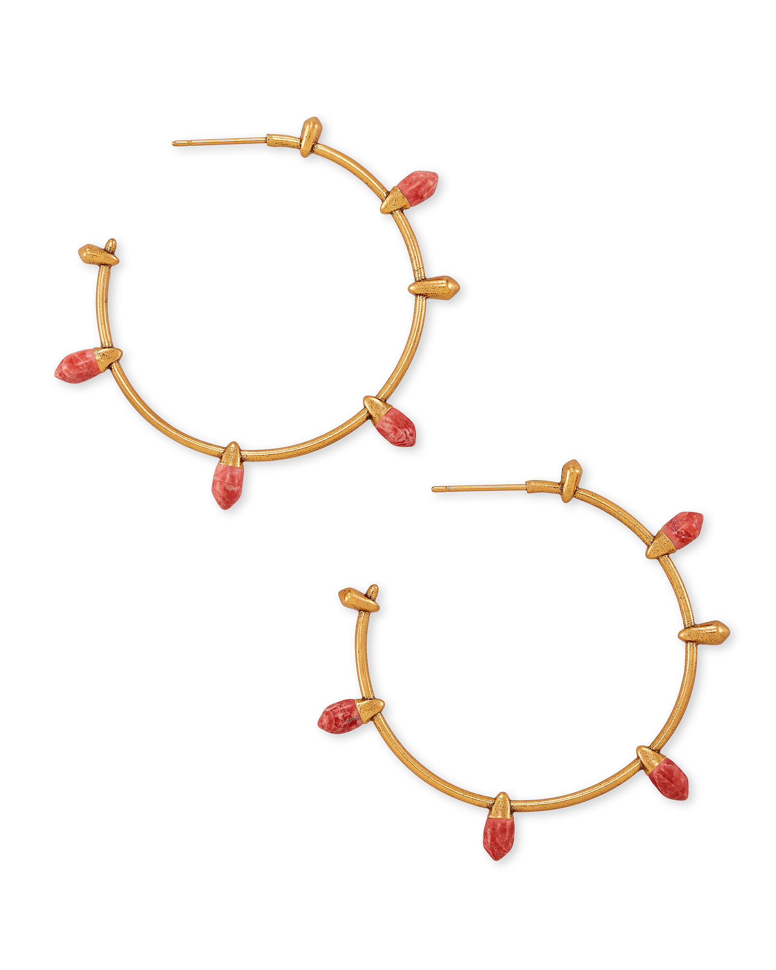 Frieda Vintage Gold Hoop Earrings in Burnt Sienna Howlite