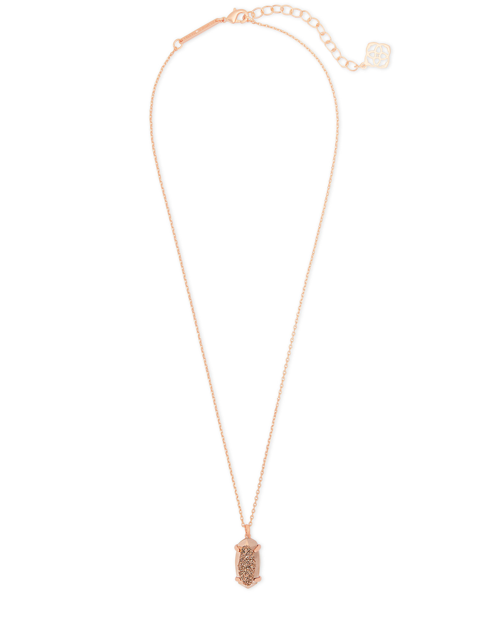Harrison Rose Gold Pendant Necklace In Rose Gold Drusy