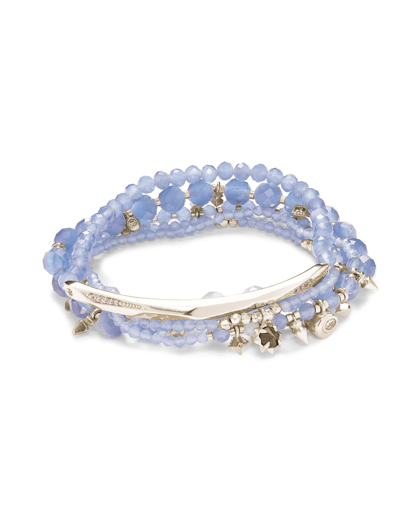 Supak Silver Beaded Bracelet Set In Periwinkle Cats Eye