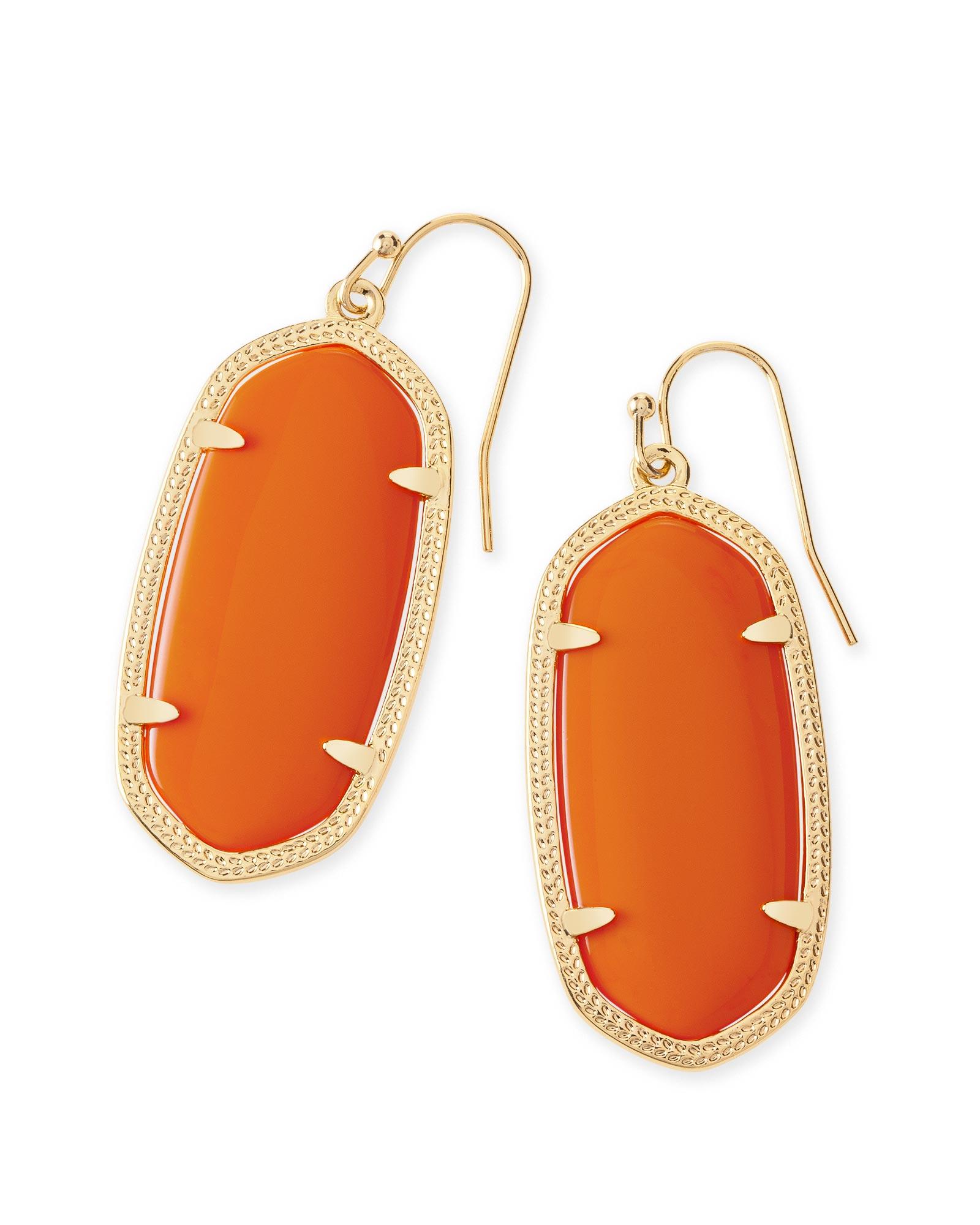 Elle Gold Drop Earrings In Orange