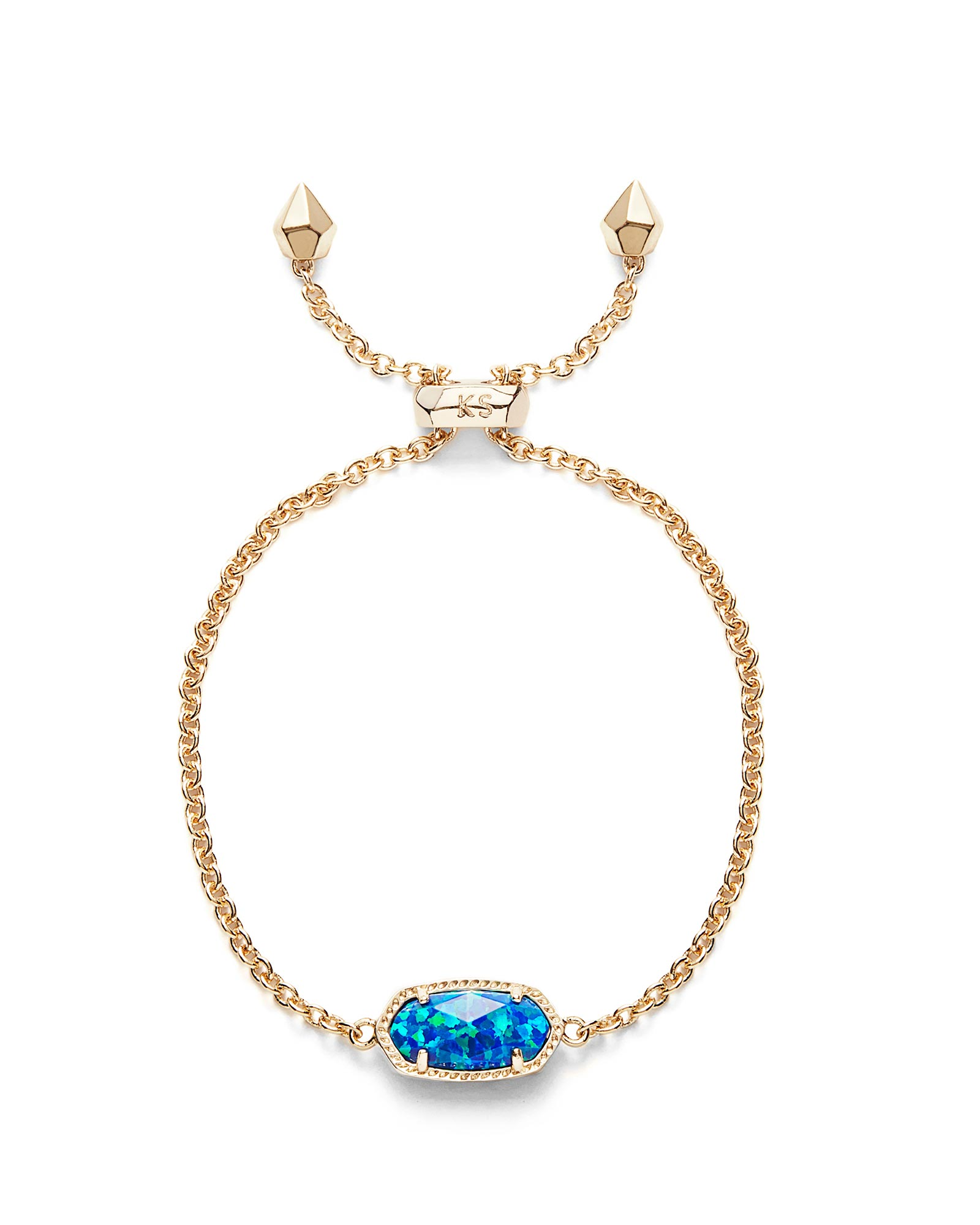 Elaina Adjustable Chain Bracelet in Royal Blue Kyocera Opal