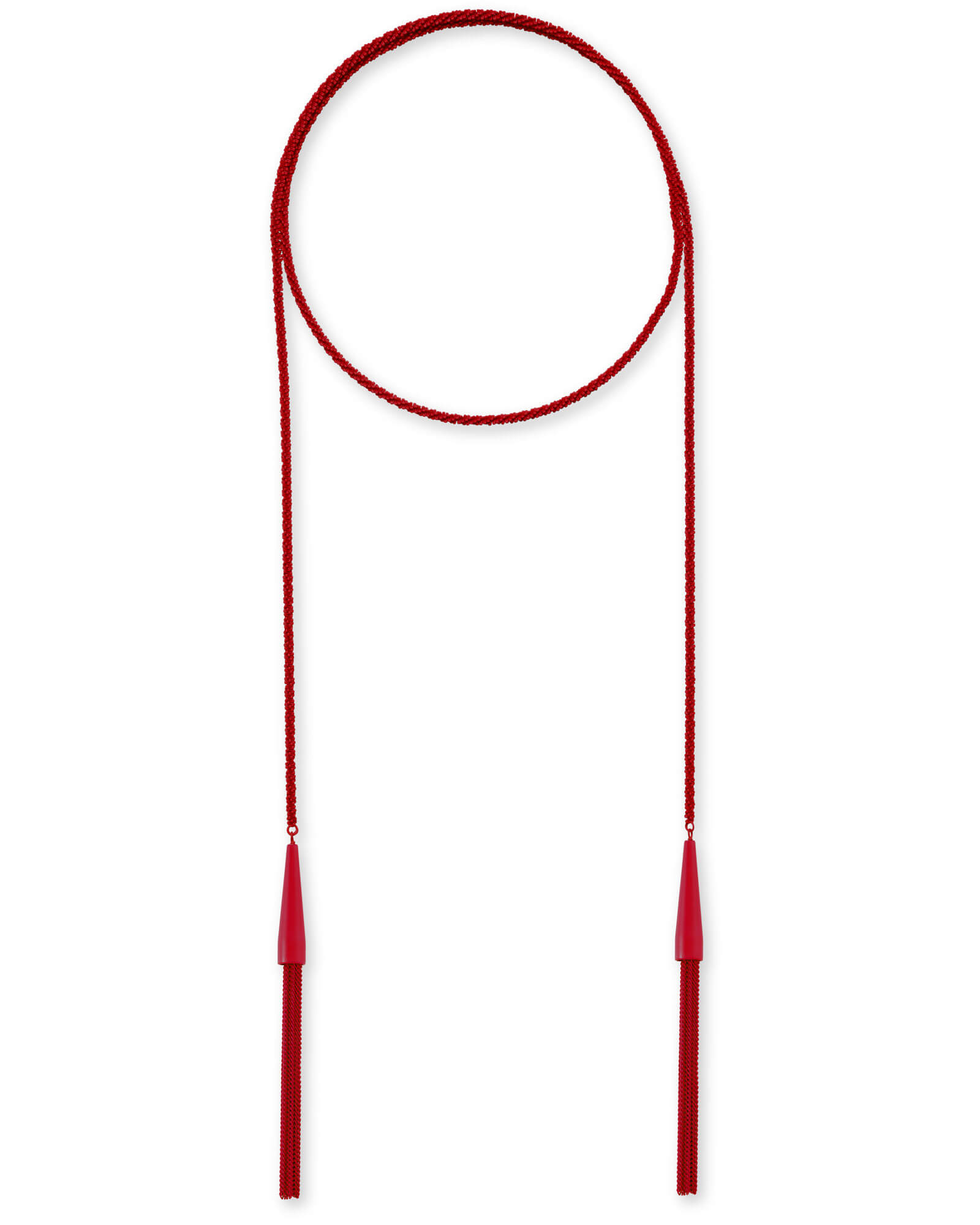Phara Matte Lariat Necklace in Red