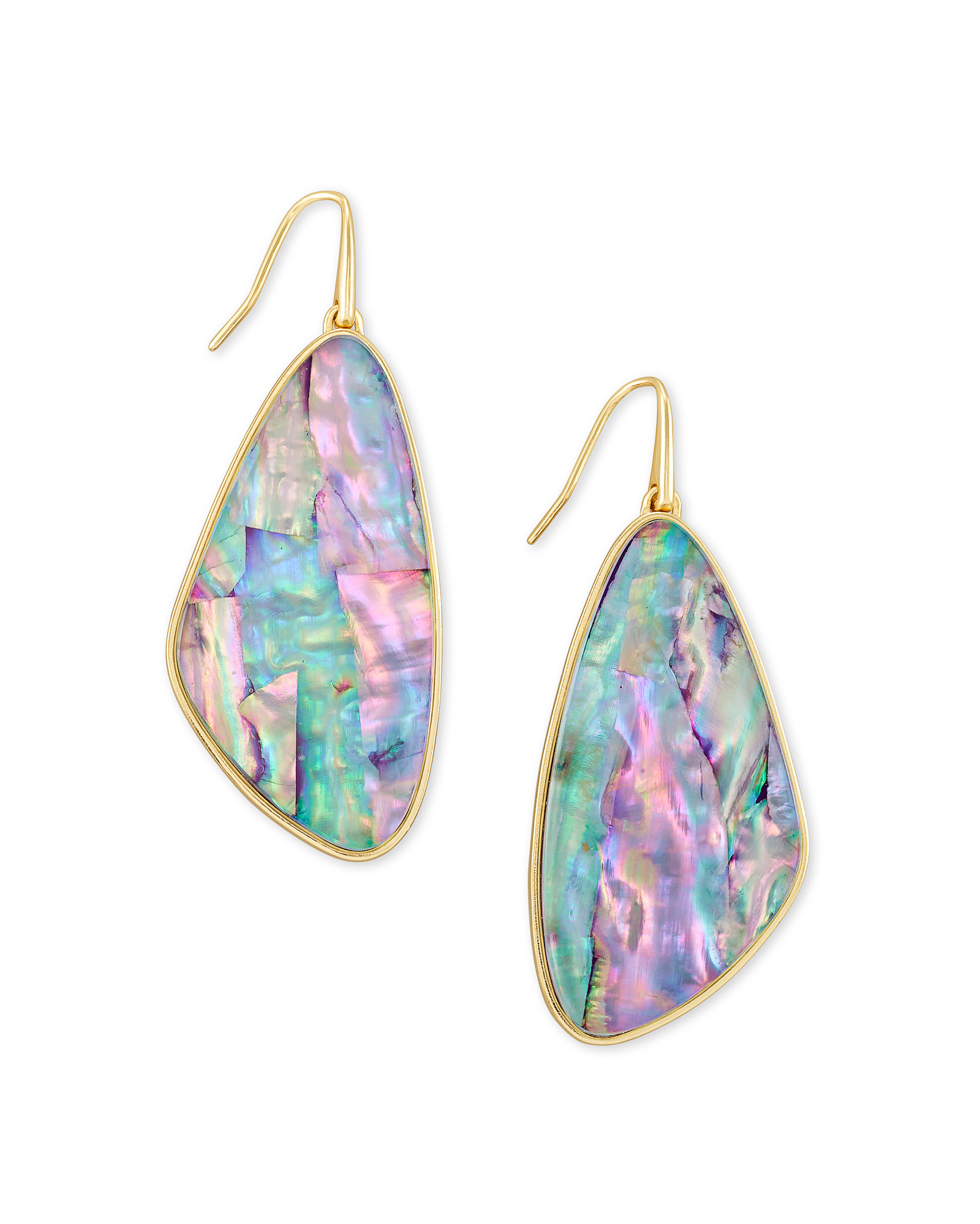 Mckenna Gold Drop Earrings in Lilac Abalone