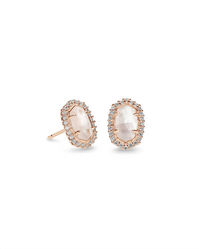 Cade Rose Gold Stud Earrings in Ivory Pearl