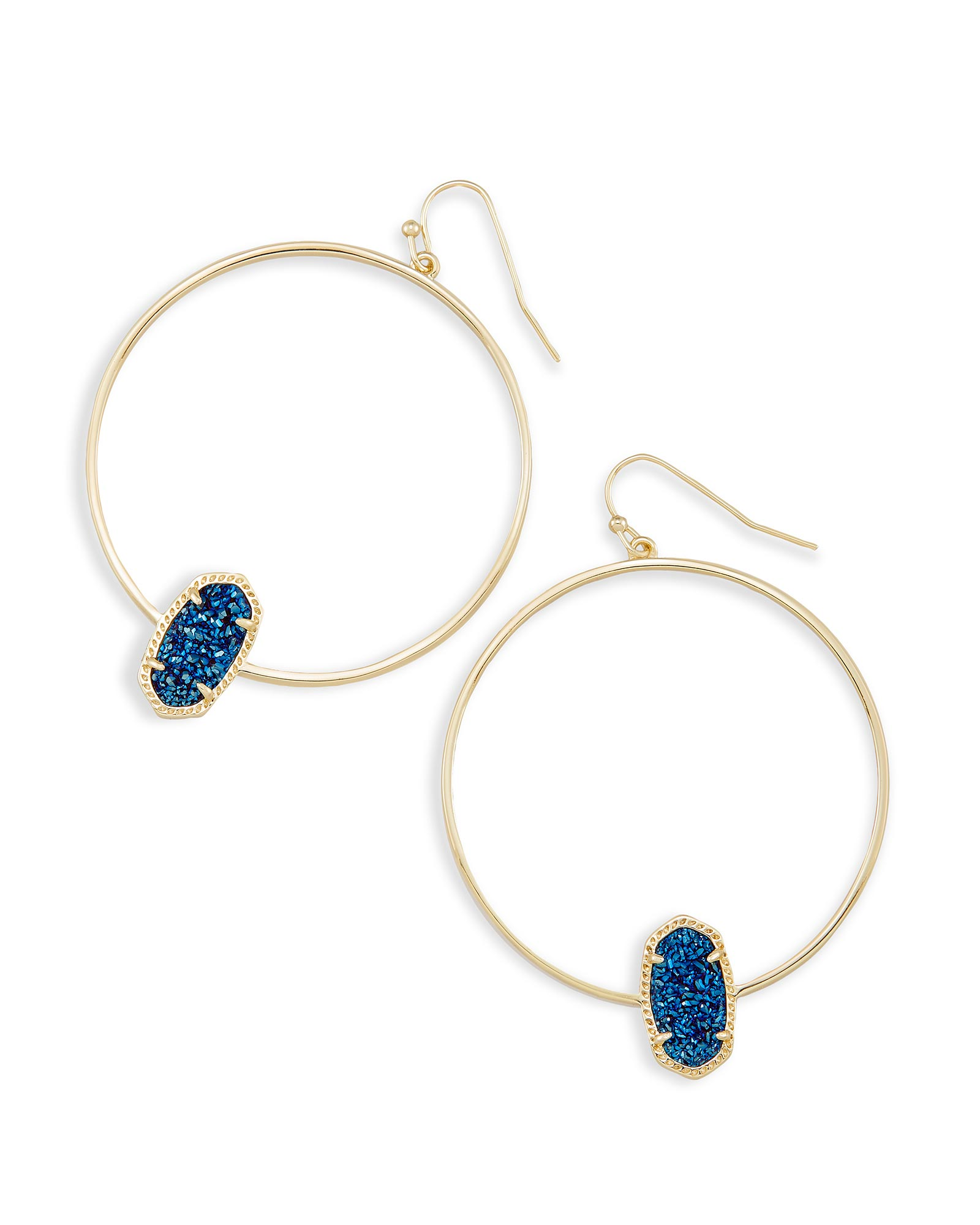 Elora Statement Earrings in Blue Drusy