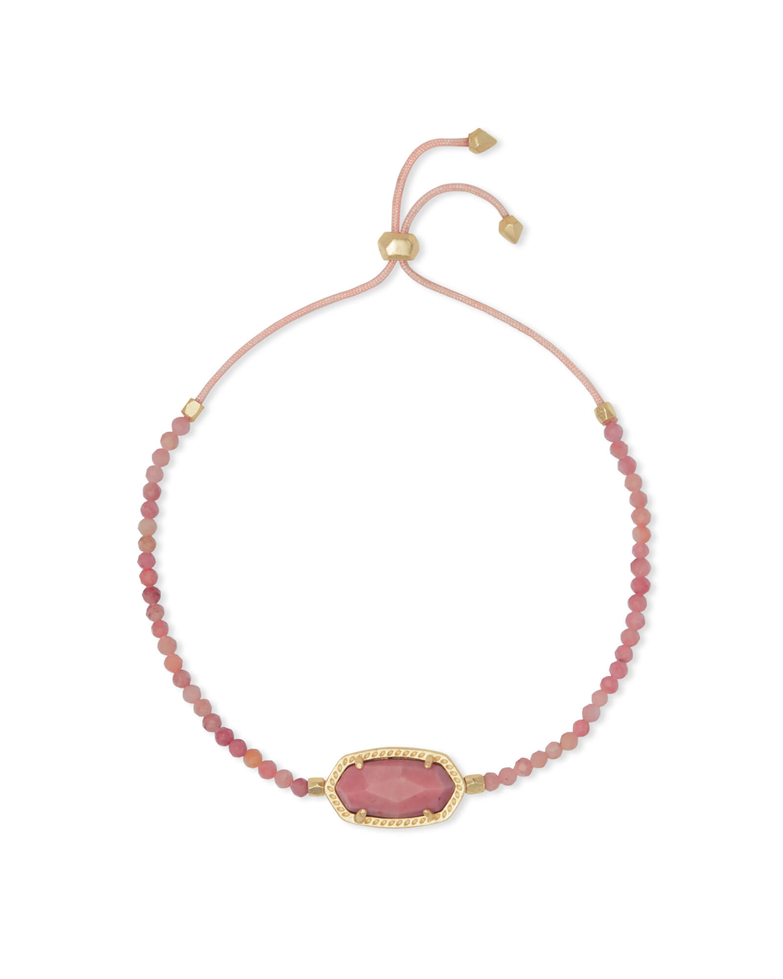 Elaina Gold Beaded Chain Bracelet in Pink Rhodonite