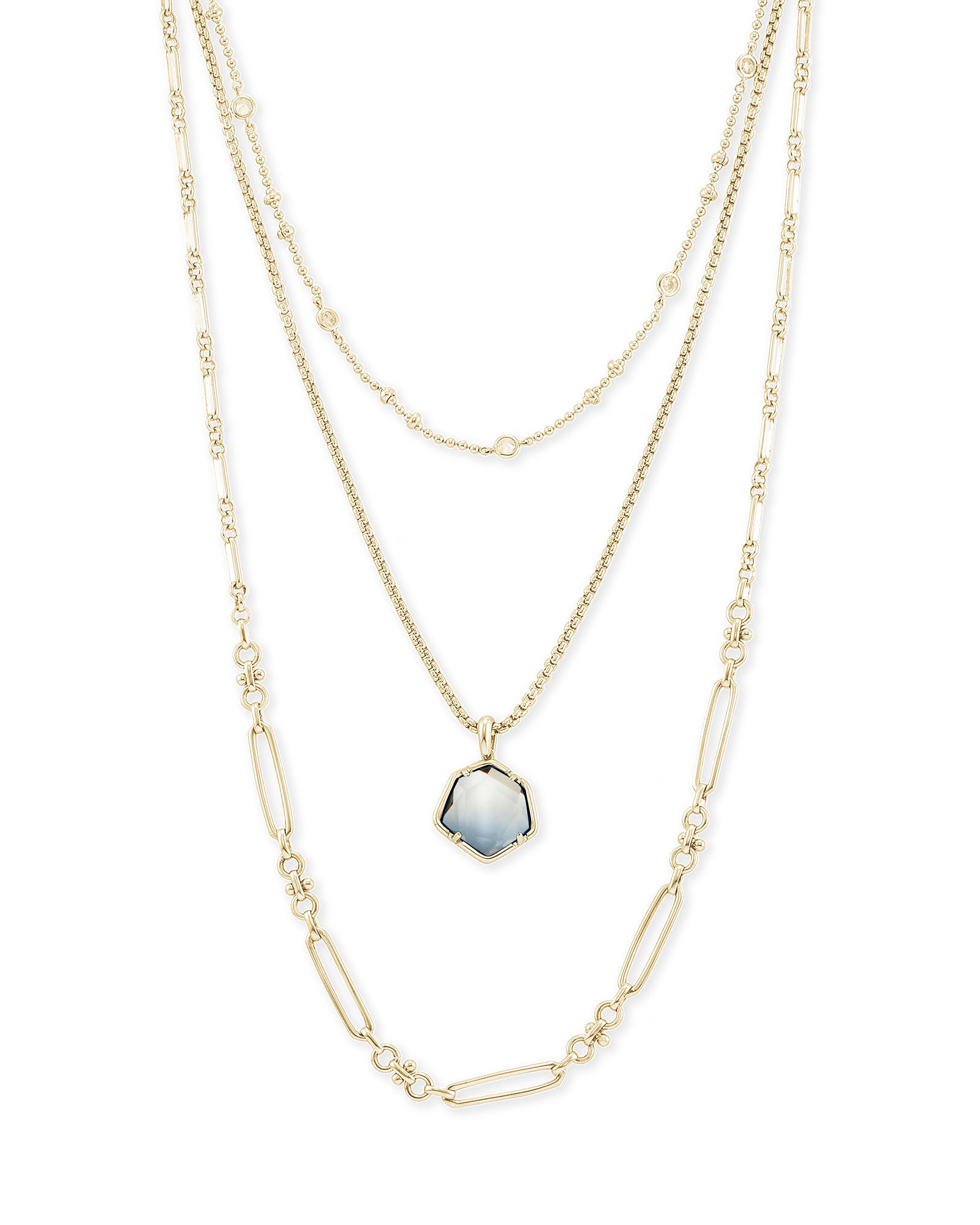 Vanessa Gold Multi Strand Necklace in Steel Gray Ombre