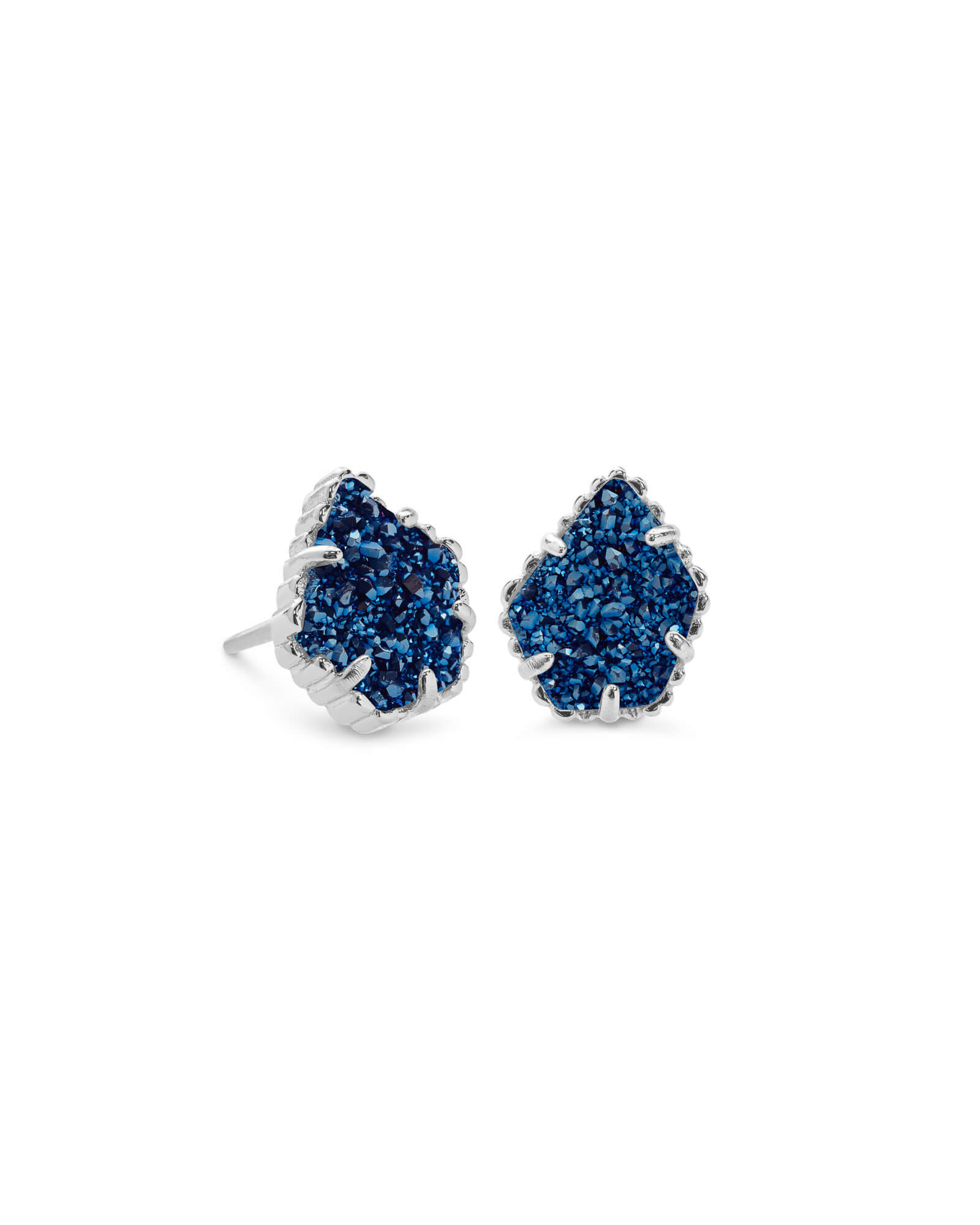 e09ffbfc0 Tessa Silver Stud Earrings in Blue Drusy | Kendra Scott