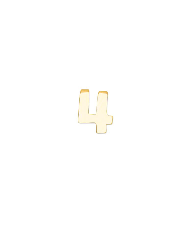 Number 4 Charm - Gold