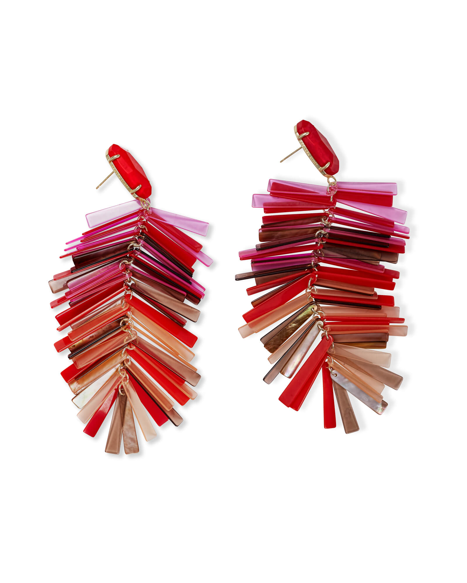Justyne Gold Statement Earrings in Red Mix Matte Opaque Glass