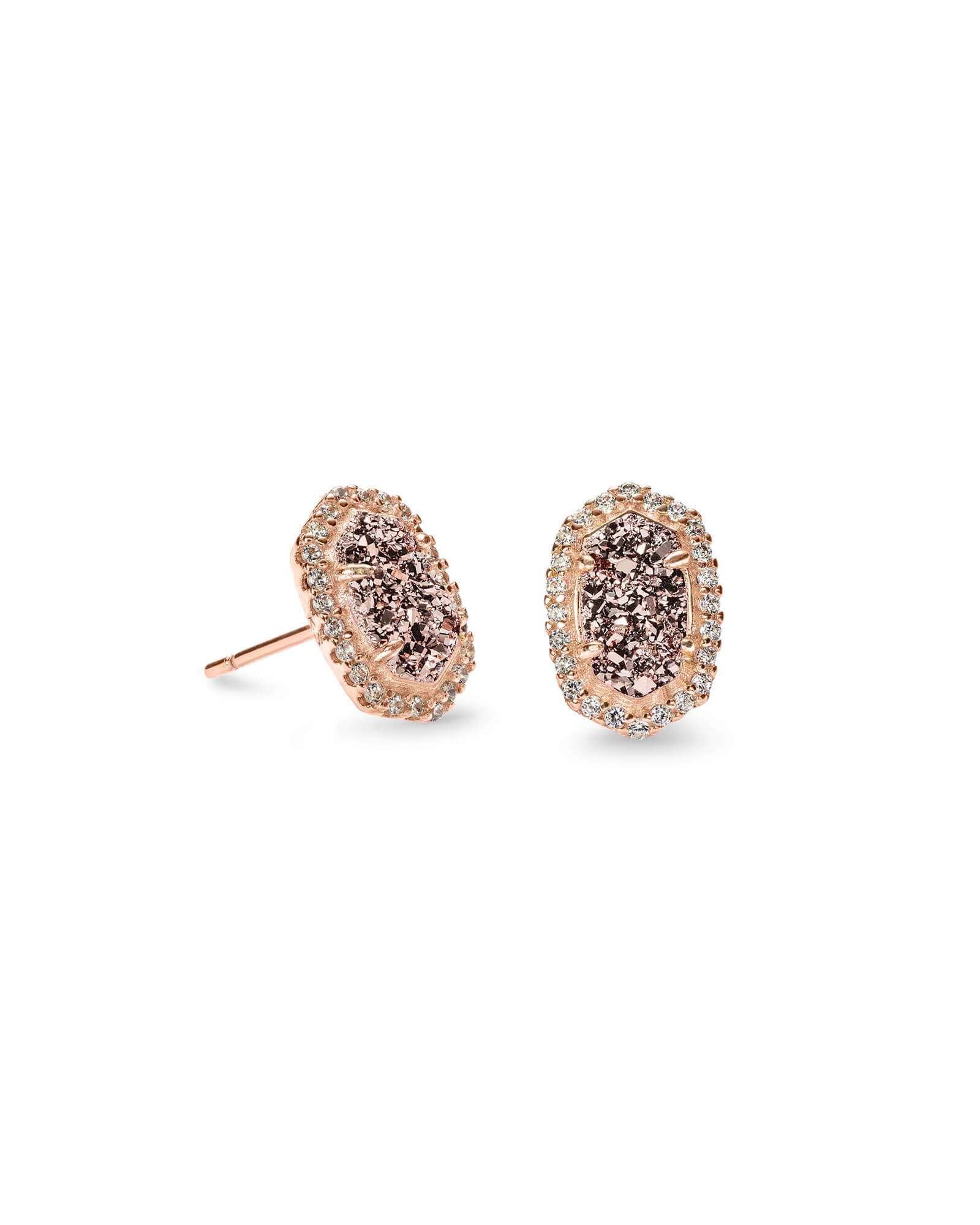 Cade Rose Gold Stud Earrings in Rose Gold Drusy