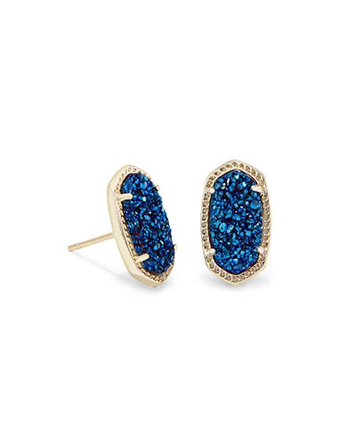 Ellie Stud Earrings in Blue Drusy