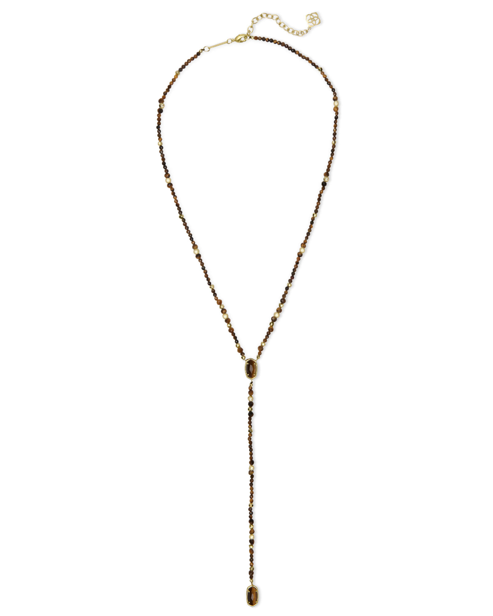 Bethany Gold Y Necklace in Brown Tigers Eye
