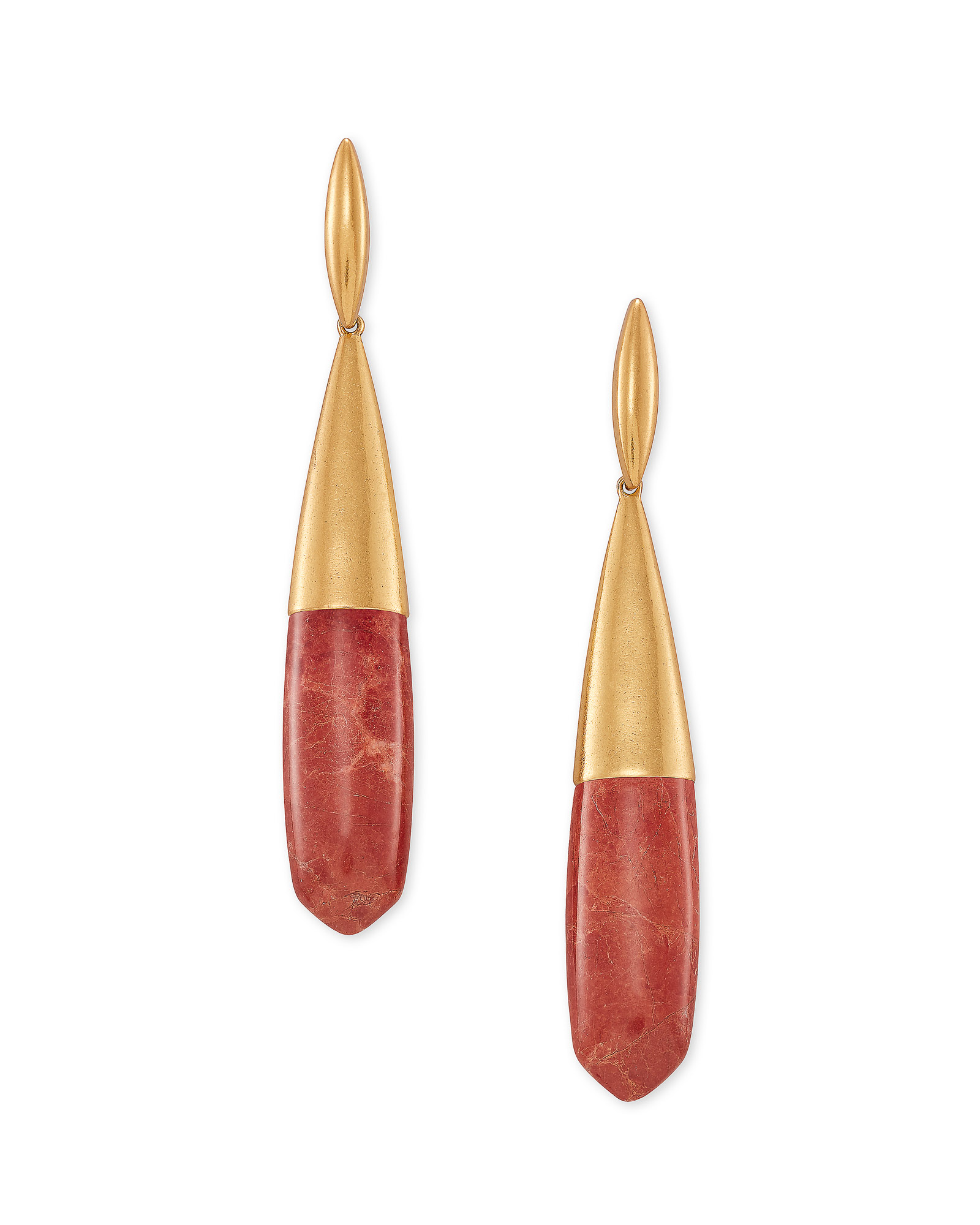 Frieda Vintage Gold Linear Earrings in Burnt Sienna Howlite