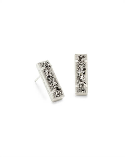 Lady Silver Stud Earrings in Platinum Drusy